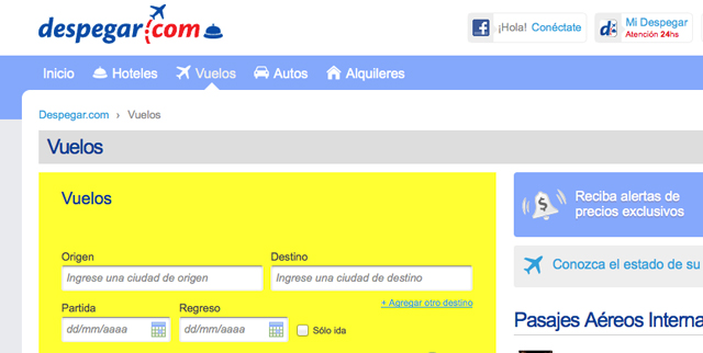 La website de Despegar.com - Foto: